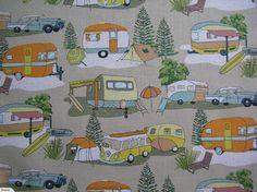 ~KIWIANA~ Retro Camping ThumpaCat Fabrics | Trade Me