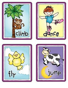 """Free set of verb cards... Print these!... Follow for Free """"too-neat-not-to-keep"""" teaching tools & other fun stuff :)"""