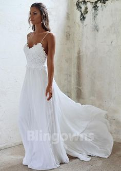 Sweep Train Sleeveless Chiffon Spaghetti Straps Open Back Appliques White A-line Wedding Dresses
