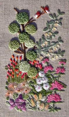 """8"""" x 10.5"""" ecru linen printed with 2.5"""" x 5"""" design. This was designed by Monique Beguin. 12 different stitches are used : stem, lazy daisy, french knot, colon"""