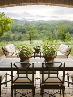 Brick outdoor patio. Soooo pretty! Nice and open!