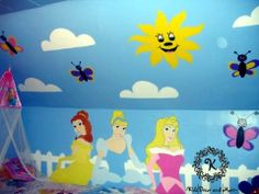 Disney Princess handpainted wall mural custom