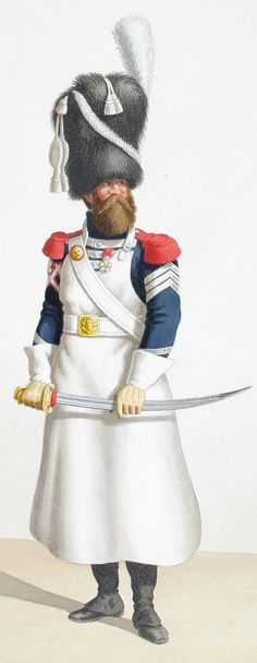 1818. Garde Royale. Infanterie. (1er Régiment), Sapeur, Caporal-Sapeur.