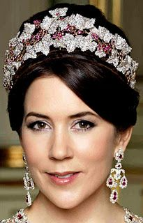 Close up of HRH Crown Princess Mary of Denmark wearing the Ruby Parure Tiara and Chandelier Earrings
