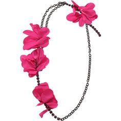 Lanvin Gina-sautoir Flower Necklace ($890) ❤ liked on Polyvore featuring jewelry, necklaces, fuschia jewelry, lanvin necklace, blossom necklace, flower jewellery and flower jewelry