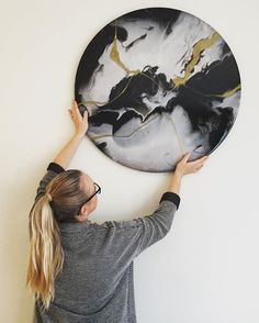 A little to the left?  EVANGELINE 80cm diameter. Currently on sale @theblockshop #rachelbainbridge_art #art #artist #artwork #wallart #melbourne #australianart #monochrome #roundart #originalart #oneofakind #home #homedecor #reno #renovating #blackandwhite #gold #layers #interiors #styling #theblock #theblockshop #available #forsale #onlineshopping #redecorating #scandi #nordic #minimalist #style