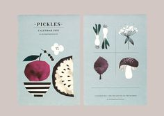 The 2015 Pickles Calendar from Norwegian duo Darling Clementine has arrived at Northlight Homestore Food Illustrations, Illustration Art, Cookbook Design, Kids Calendar, 2015 Calendar, Printable Calendar Template, Project, Pattern Design, Stationery