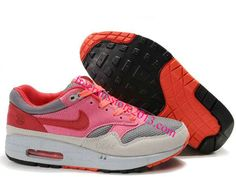 best authentic 04785 9dfe4 Womens Nike Air Max 1 Graphite Light Grey Pink Infrared Shoes, Pink  Sneakers For Womens