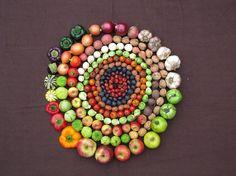 Fruit and veg mandala Fruit And Veg, Fruits And Vegetables, Fresh Fruit, Mabon, Things Organized Neatly, Wheel Of Life, Fruit Art, Circle Of Life, Inner Circle