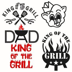 Dad King of the Grill BBQ Cooking Cuttable Design Cut File. Silhouette Cameo Projects, Silhouette Design, Silhouette Curio, Vinyl Crafts, Vinyl Projects, Apex Embroidery, Embroidery Designs, Silhouette Portrait, Silhouette Machine