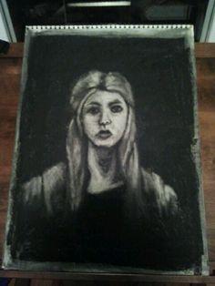 Self portrait 5. Subtractive charcoal.