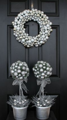 Silvery Christmas Wreath and Topiary Trees, Holiday Wreath and Topiary Centerpiece, Silver on Etsy, $109.00