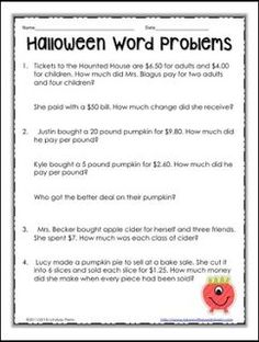 Monster Math  Free Printable World Problems For Halloween  Word