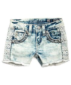 Take a look at this Miss Me Light Blue Stone Wash Crochet Accent Denim Shorts today!