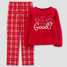 Just One You Made by Carter's Girls' 2pc Too Late To Be Good Pajama Set - Apple Red 10