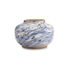 Discover the AERIN Blue Marbelised Vase at Amara