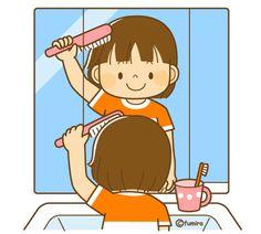 髪の毛をとかす女の子(ソフト)