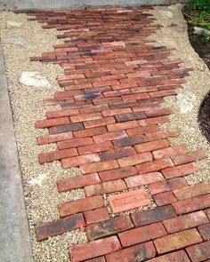 Bricks and pea gravel - easy and eye-catching http://www.VintageBricks.com
