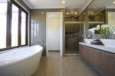 Modern bathroom with a sleek look.