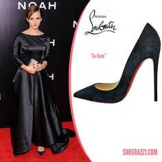 Emma Watson in Christian Louboutin 'So Kate' Suede 120mm Pumps to the NY Premiere of 'Noah' held at the Ziegfeld Theatre