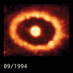 Shocked by Supernova 1987A (Feb 27 2012)  Image Credit: Hubble Space Telescope, NASA, ESA; Video compilation: Mark McDonald [25] ago, the brightest supernova of modern times was sighted. Over time, astronomers have watched and waited for the expanding debris from this tremendous stellar explosion to crash into previously expelled material. A clear result of such a collision is demonstrated in the above time lapse video of images recorded by the Hubble Space Telescope between 1994 and 2009.