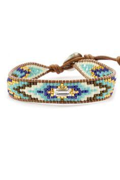 Chan Luu - Turquoise Bead Mix Single Wrap Bracelet on Natural Brown Leather Loom Bracelet Patterns, Bead Loom Bracelets, Beaded Wrap Bracelets, Handmade Bracelets, Beaded Jewelry, Handmade Jewelry, Bracelet Wrap, Turquoise Beads, Leather Jewelry
