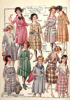 Vivid checks, stripes and plaids were the popular textile patterns for dresses in the late-1910s. This page of girls' dresses is from the Spring 1919 Sears catalog.