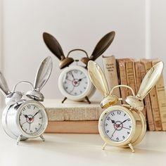 PB Teen The Emily and Meritt Bunny Alarm Clock, White at Pottery Barn Teen - Teen Bedroom Clocks