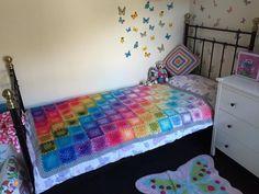 Granny square rainbow blanket
