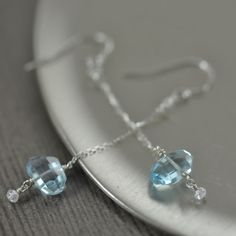New today, December birthstone earrings featuring faceted London blue topaz gemstones