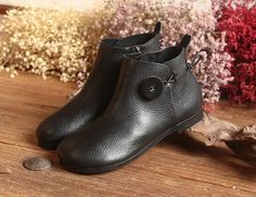 Handmade Black Women Booties,Oxford Ankle Boots, Flat Shoes, Soft Leather Shoes, Casual Shoes, Slip Ons, Loafers  More Shoes: https://www.etsy.com/shop/HerHis?ref=shopsection_shophome_leftnav  ♥♥♥♥♥♥If you do not know which size you need to choose, please tell me the length of your feet, I would recommend you the size which is fit for your feet.;-)  PLEASE NOTE THAT the foot must be firmly on the floor when you measure the length and width of your foot. And remember t...