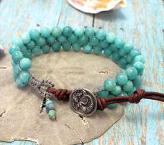 Aqua Blue, 3 Row Knotted Bracelet, Green Girl Studios Mermaid , Hand Knotted, Macrame, Cuff, Bracelet, Boho, Bohemian Style, Beach Chic by SunsetSouthPaw on Etsy