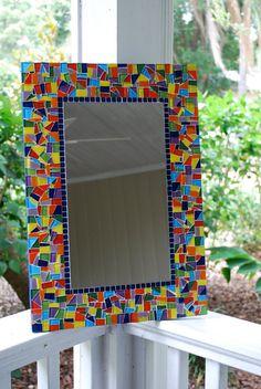 do to guest bathroom mirror Blue Mosaic Tile, Mirror Mosaic, Mirror Art, Mosaic Art, Mosaic Glass, Glass Art, Mosaic Designs, Mosaic Ideas, Mosaic Crafts
