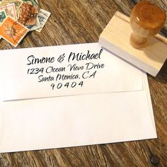 Custom Address Stamp with a calligraphy script font by Designkandy, $29.00