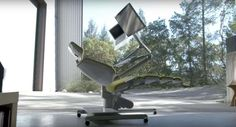 a desk that optimizes workflow by letting users lie down.