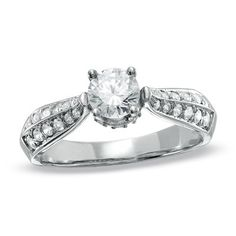 1 CT. T.W. Diamond Contour Engagement Ring in 14K White Gold