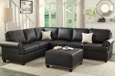 Poundex F7769 2-Pcs Black Bonded Leather Reversible Sectional Sofa