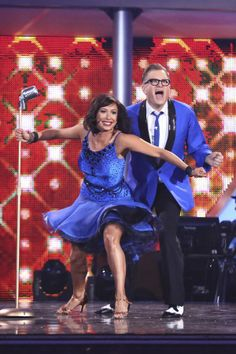 """Cheryl Burke & Drew Carey jive to The Dovells' """"You Can't Sit Down""""  -  Dancing With the Stars  -  week 2  -  season 18  -  spring 2014  -  scored 7+7+7=21 points of a possible 30"""