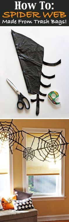 Spiders webs made from bin bags. Great for a Halloween party!