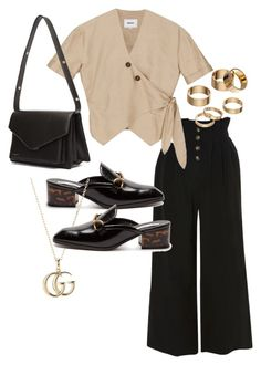 A fashion look from March 2018 featuring wrap shirt, high-waist trousers and black shoes. Browse and shop related looks. Mode Outfits, Fashion Outfits, Womens Fashion, Fashion Trends, Classy Outfits, Stylish Outfits, Look Girl, Lookbook, Mode Style