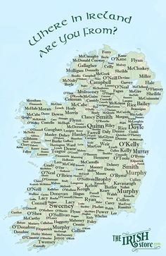 Where in Ireland are you from? Trace your Irish heritage and find out where your Irish surname originated or is most dominant in Ireland on the map .We've included hundreds of popular Irish surnames from all around the country Genealogy Research, Family Genealogy, Genealogy Sites, Genealogy Chart, Genealogy Humor, Genealogy Forms, Le Connemara, Just In Case, Just For You