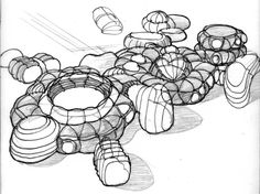 Gorgeous renderings of an inflatable utopia from the recent past. Organic Architecture, Space Architecture, Architecture Drawings, Futuristic Architecture, Structures Gonflables, Utopian Society, Bubble Tent, Unusual Buildings, Jean Paul