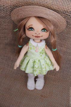 Купить Дело в шляпе - мятный, текстильная кукла, авторская ручная работа, кукла в подарок