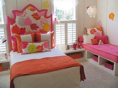 Leaf theme headboard, more girls room decor at http://www.myhomerocks.com/2012/04/girls-bedroom-design-ideas-for-a-stylish-little-miss/