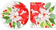 Margaret Berg Art: Christmas+Pointsettia+Paper+Tableware
