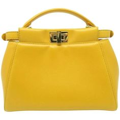 Fendi Peekaboo Yellow Lambskin Leather Gold Metal Top Handle Bag | From a collection of rare vintage top handle bags at https://www.1stdibs.com/fashion/handbags-purses-bags/top-handle-bags/