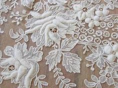 Roses on French Net Tambour Embroidered Lace Curtain 66 x Antique Tambour Beading, Tambour Embroidery, Silk Ribbon Embroidery, Embroidered Lace, Antique Lace, Vintage Lace, Fabric Embellishment, Lesage, Lace Curtains