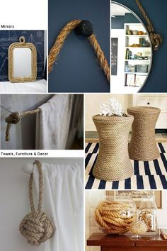 Decorating with rope.  I especially like the towel rack. Nautical Bedroom, Nautical Bathrooms, Beach Bathrooms, Bedroom Decor, Nautical Home, Nautical Mirror, Nautical Style, Diy Home Decor, Beach House Decor