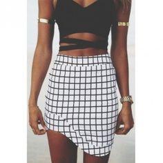 White Checkered Mini Skirt