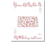 Art Print Hearts and Flowers Kansas My by PatriotIslandDesigns, $14.00